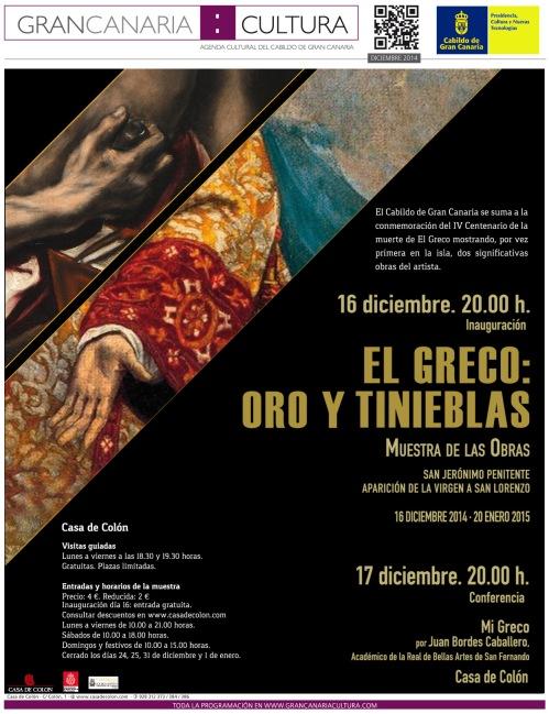 Flyer programa El Greco Casa de Colón